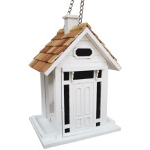 Home Bazaar Bellport Cottage Hanging Bird Feeder in White - Closeouts