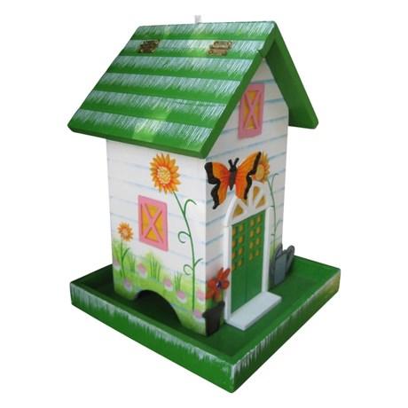 Home Bazaar Butterfly Cottage Bird Feeder in Dark Green