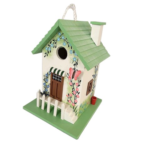 Home Bazaar Butterfly Cottage Birdhouse in Green/White