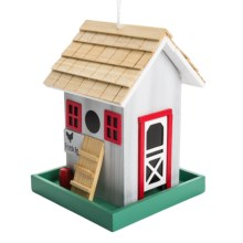 Home Bazaar Chicken Coop Birdfeeder in Grey / Red - Overstock