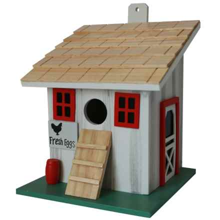 Home Bazaar Chicken Coop Birdhouse in Grey / Red - Overstock