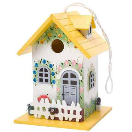 Home Bazaar Flower Cottage Bird Feeder in Yellow & White - Closeouts
