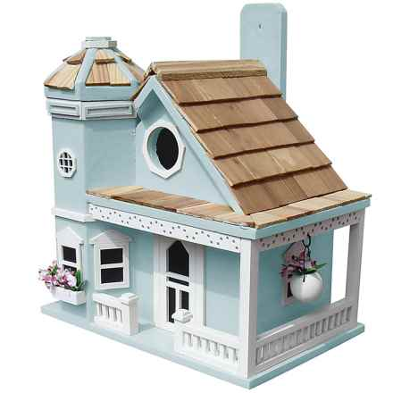 Home Bazaar Flower Pot Cottage Birdhouse in Blue - Closeouts