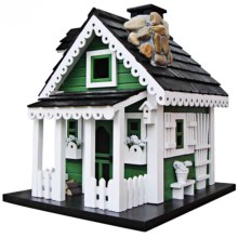 Home Bazaar Green Acres Birdhouse in Green/White/Black - Closeouts