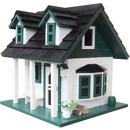 Home Bazaar Green Gables Birdhouse in White/Green/Black - Closeouts