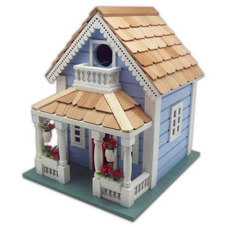 Home Bazaar Orleans Cottage Birdhouse in Blue/White