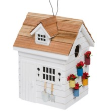 Home Bazaar Potting Shed Birdhouse in White - Closeouts