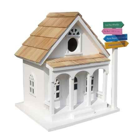 Home Bazaar Sign Post Birdhouse in White - Closeouts