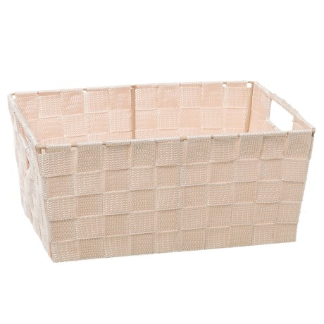 """Home Complements Woven Beige Storage Tote - 11x8x5"""" in Beige"""