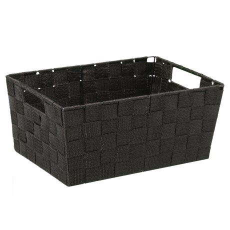 Home Complements Woven Black Storage Tote   11x8x5u201d In Black