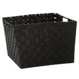 """Home Complements Woven Black Storage Tote -15x13x12"""""""