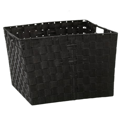 "Home Complements Woven Black Storage Tote -15x13x12"" in Black"