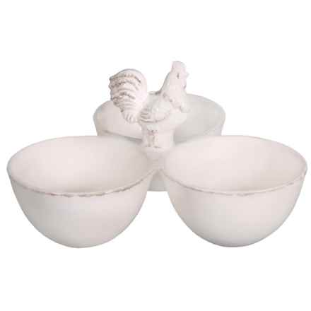 Home Essentials 3-Bowl Rooster Snack Caddy - Ceramic in White - Closeouts