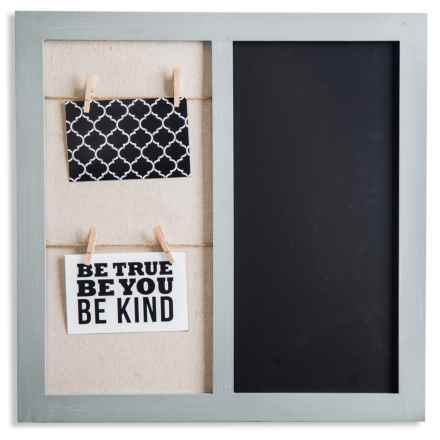 "Home Essentials & Beyond 19x19"" Wall Board with Clips and Chalkboard in Grey - Closeouts"