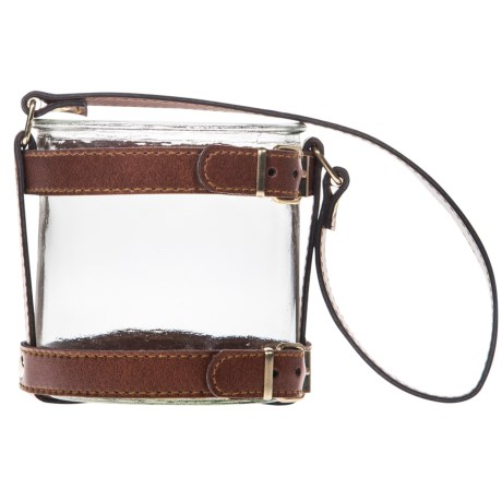 "Home Essentials & Beyond Faux-Leather Round Lantern - 4"" in Brown"