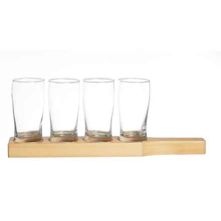 Home Essentials & Beyond Home Essentials Beer Den Beer Flight Glasses - 8.8 fl.oz., Wood Tray, Set of 4 in See Photo - Closeouts