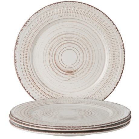 "Home Essentials & Beyond Round Dinner Plates - Set of 4, 10-3/4"" in White"