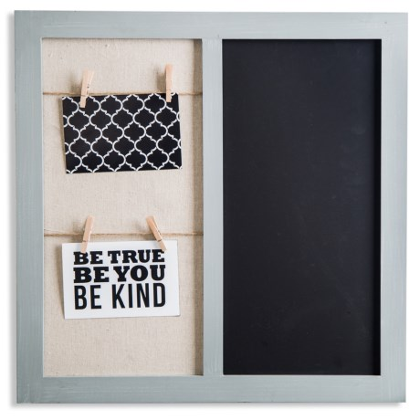 """Home Essentials & Beyond Wall Board with Clips and Chalkboard - 19x19"""" in Grey"""