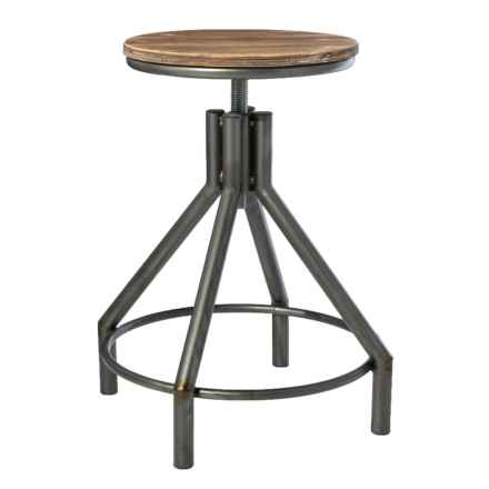 Home Essentials & Beyond Wood and Metal Stool in Natural/Silver - Closeouts