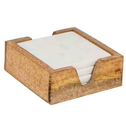 Home Essentials Marble Coasters - Natural Wood Case, Set of 4 in White - Closeouts