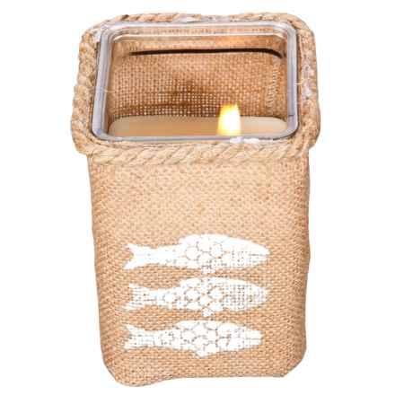 """Home Essentials Perpignan Square Citronella Candle - 6"""" in White Fish - Closeouts"""