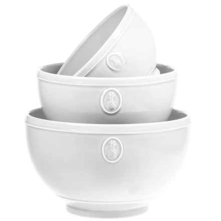 Home Essentials Pineapple Mixing Bowls - Set of 3 in White - Closeouts