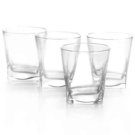Home Essentials Red Series Square Rocks Glass - 10 fl.oz., Set of 4 in See Photo - Closeouts