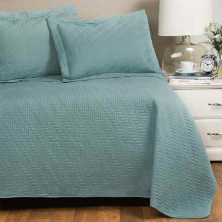 Home Fashions Emerson Collection Solid Quilt Set - Full-Queen in Cloud Blue - Closeouts