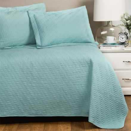 Home Fashions Emerson Collection Solid Quilt Set - Full-Queen in Icy Morn - Closeouts