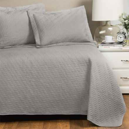 Home Fashions Emerson Collection Solid Quilt Set - Full-Queen in Pewter - Closeouts