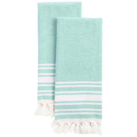 Home Fashions Natasha Fringed Kitchen Towels - 2-Pack in Hydro Green - Closeouts