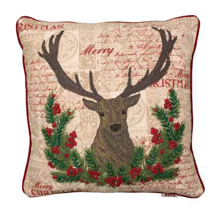 """Home For Christmas Deer Face Throw Pillow with French Knots - 20x20"""", Feathers in Red - Closeouts"""