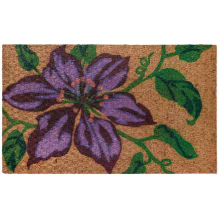 """Home Furnishings by Larry Traverso Low-Profile Printed Coir Doormat - 18x30"""" in Clematis - Closeouts"""