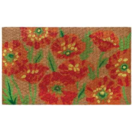 """Home Furnishings by Larry Traverso Low-Profile Printed Coir Doormat - 18x30"""" in Poppy - Closeouts"""