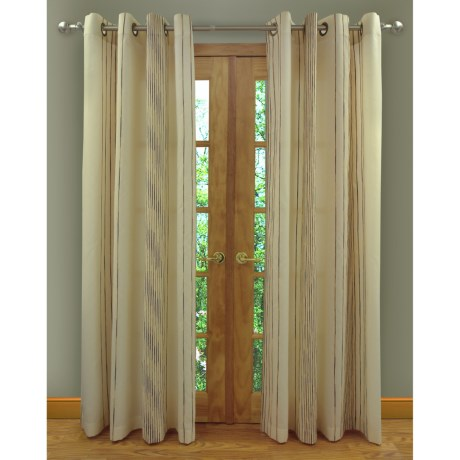 "Home Studio Ambiance Taffeta Curtains - 104x84"", Grommet-Top, Chenille Stripe in Ivory"