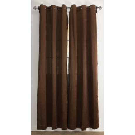 "Home Studio Eldorado Sateen Curtains - 106x84"", Grommet-Top in Chocolate"