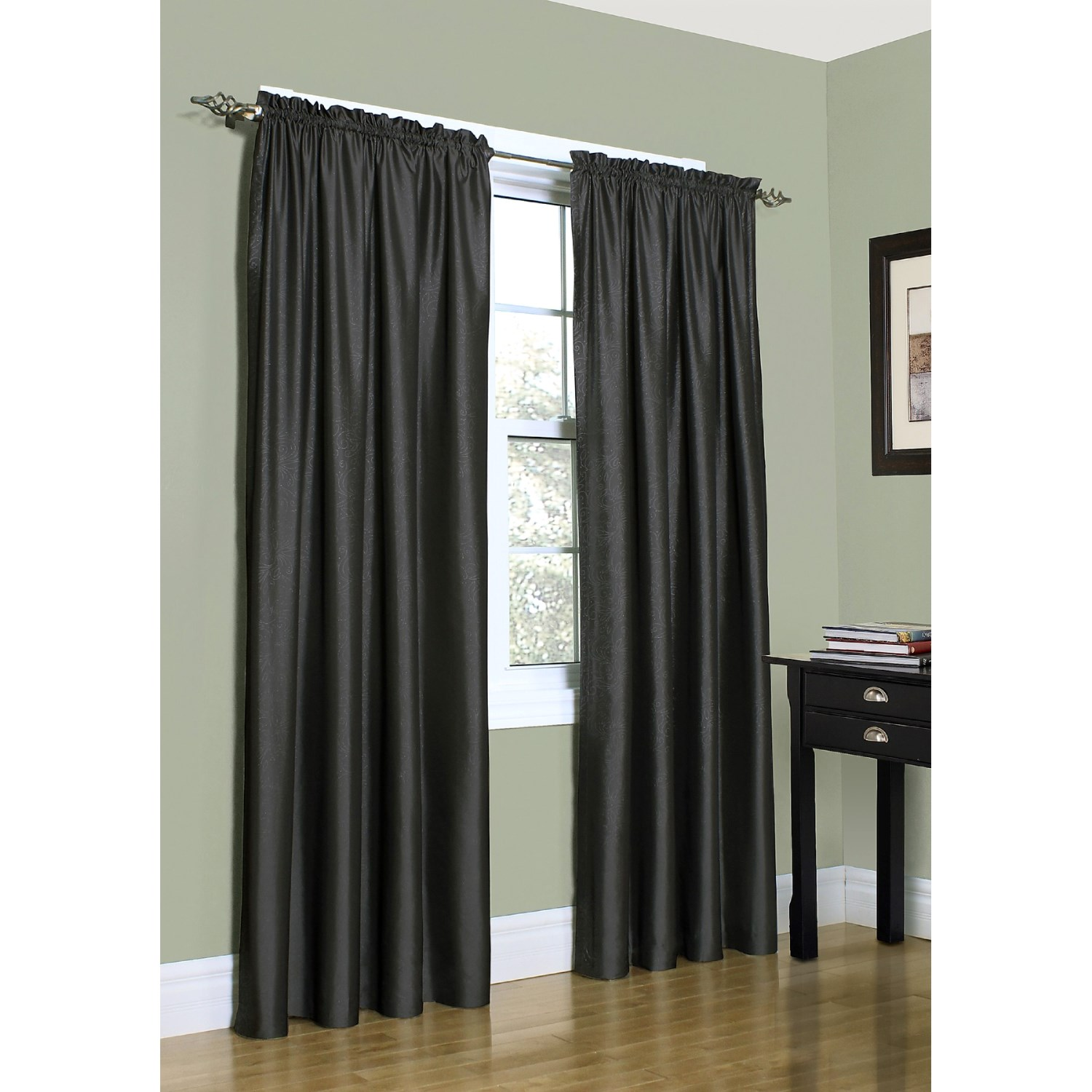 home studio metallica faux silk curtains 108x84 rod pockettop in