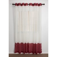 "Home Studio Two-Tone Banded Curtains - 84"", Crushed Voile, Grommet Top in Sienna/Ivory - Closeouts"