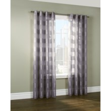 "Home Style Tonal Stripe Semi-Sheer Curtains - 108x84"", Grommet-Top in Grey - Closeouts"