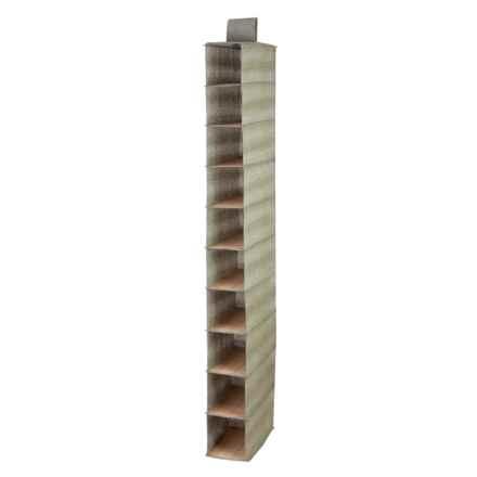 Honey Can Do 10-Shelf Hanging Shoe Organizer in Bamboo/Moss - Closeouts