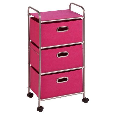 Honey Can Do 3-Drawer Fabric Storage Cart in Pink