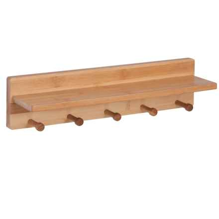Honey Can Do Bamboo 5-Peg Wall Shelf in Natural - Closeouts