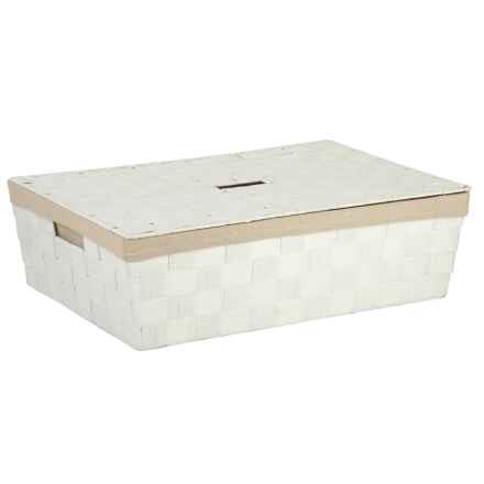 Honey Can Do Paper Rope Under-Bed Storage Basket with Lid in White - Closeouts