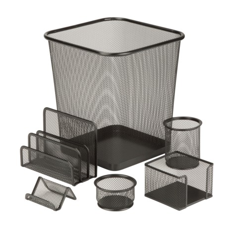 Honey Can Do Steel Mesh Desk Organizing Set - 6-Piece in Black