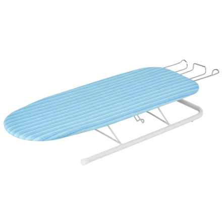 Honey Can Do Tabletop Ironing Board with Retractable Iron Rest in Blue/White - Closeouts
