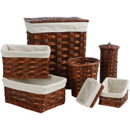 Honey Can Do Wicker Hamper Set - 7-Piece in Brown - Closeouts