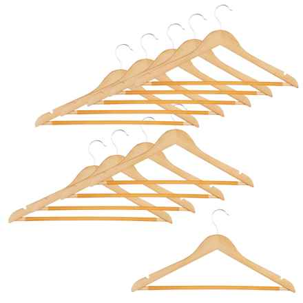 Honey Can Do Wood Hangers - 10-Pack in Maple - Closeouts