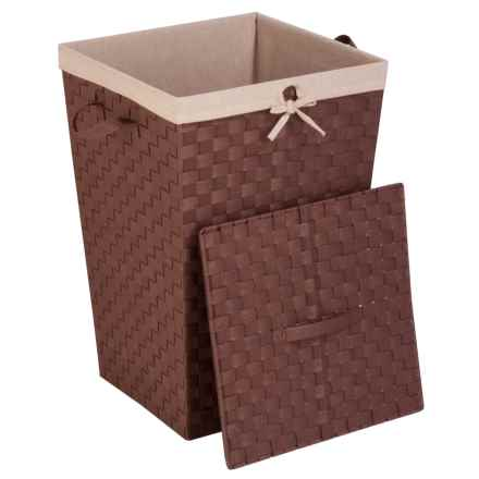 Honey Can Do Woven Strap Hamper with Liner and Lid in Java/Brown - Closeouts