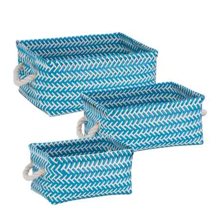Honey Can Do Zigzag Storage Baskets - Set of 3 in Blue - Closeouts