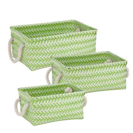 Honey Can Do Zigzag Storage Baskets - Set of 3 in Green - Closeouts
